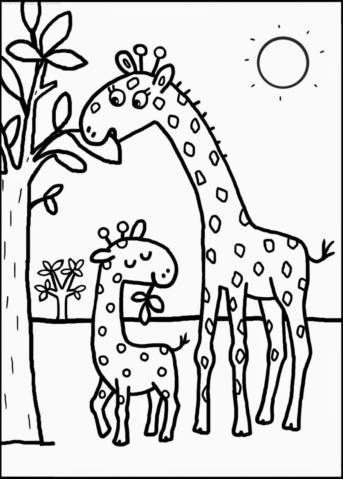 Coloriage à imprimer girafe-8