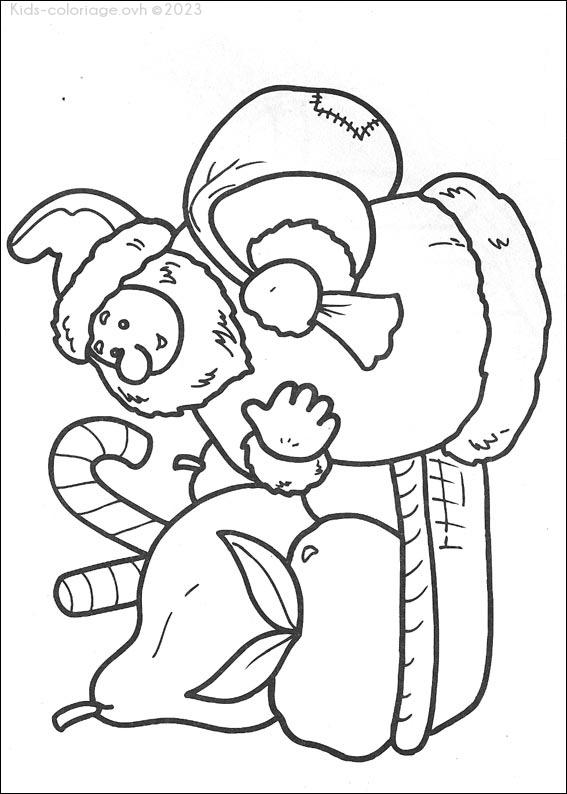 Coloriage à imprimer papa-noel-cadeau