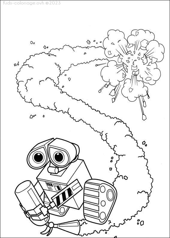 Coloriage à imprimer wall-e-explosion